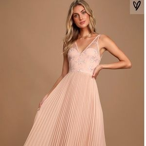 Blush Pink Lace Pleated Maxi Dress